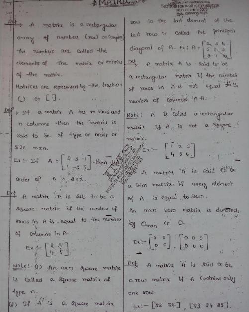 Mathematics Optional Printed Notes By K Venkanna For IAS, IFoS