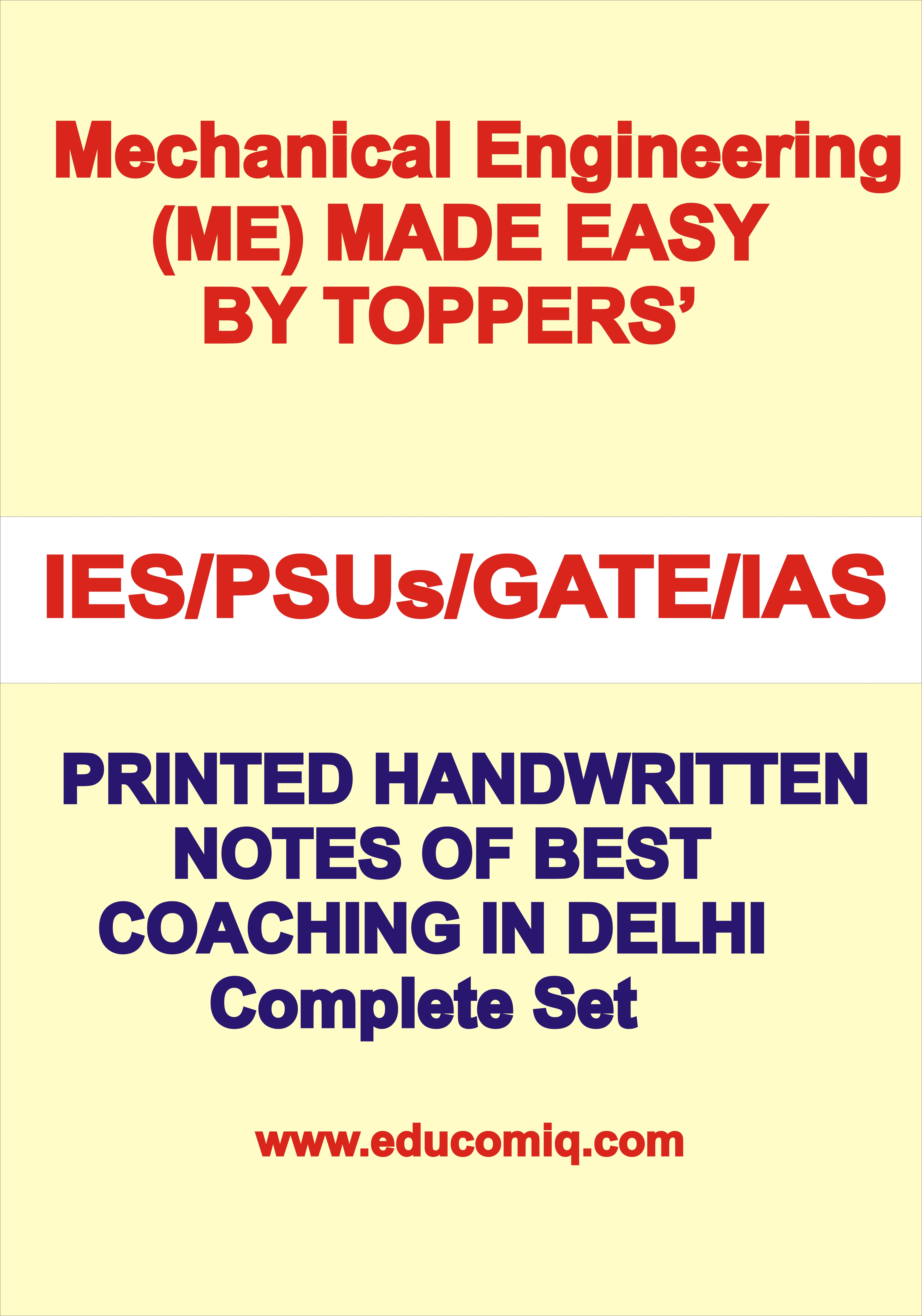 Handwritten Notes Made Easy Mechanical Engineering for IES, GATE, PSU